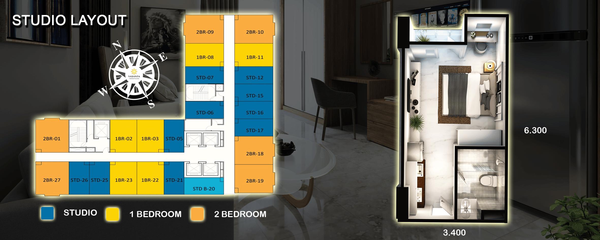 STUDIO LAYOUT, Type Dan Harga Apartemen Vasanta Innopark MM2100 Cibitung