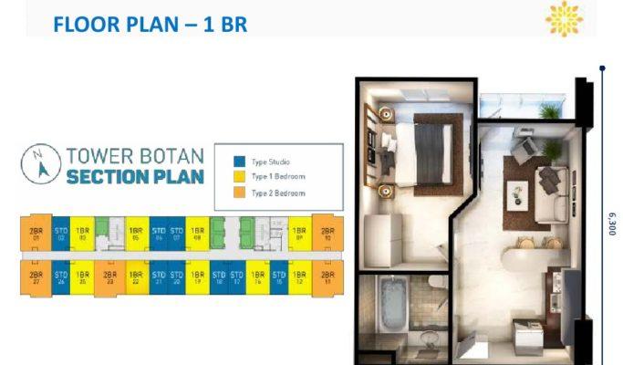 Tower Botan Apartemen Vasanta Innopark Type 1BR