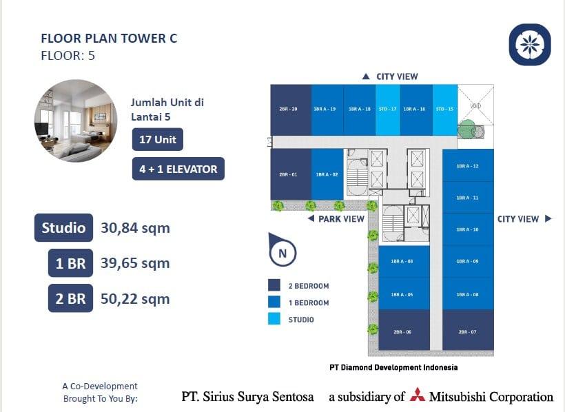 Jumlah unit Tower Chihana vasanta innopark